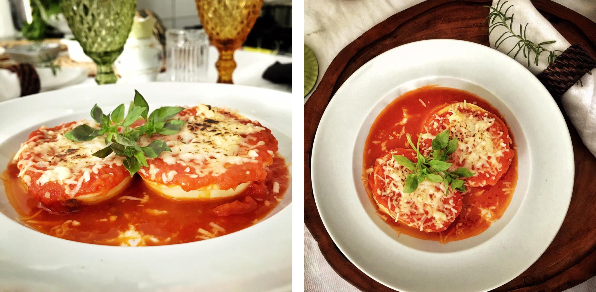 Rotolone de ricota com tomate seco e rúcula ao molho pomodoro.