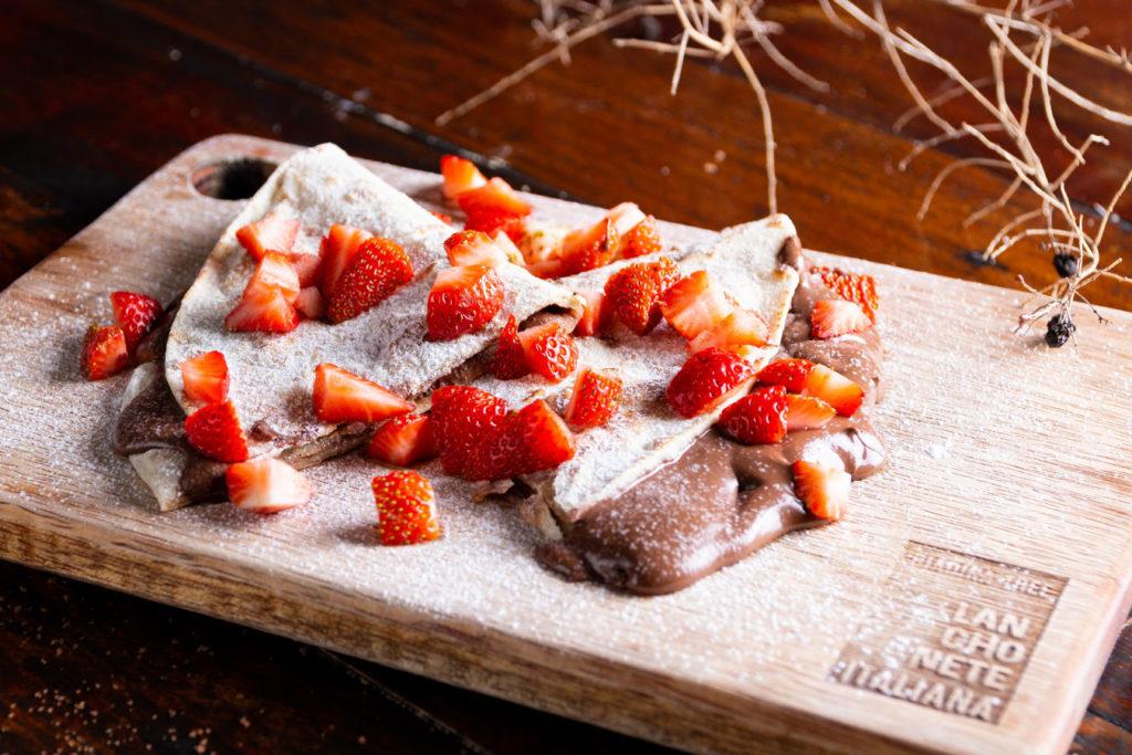 Receita de Piadina de nutella e morangos